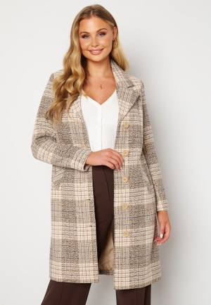 Happy Holly Corinne checked coat Beige / Checked 32/34