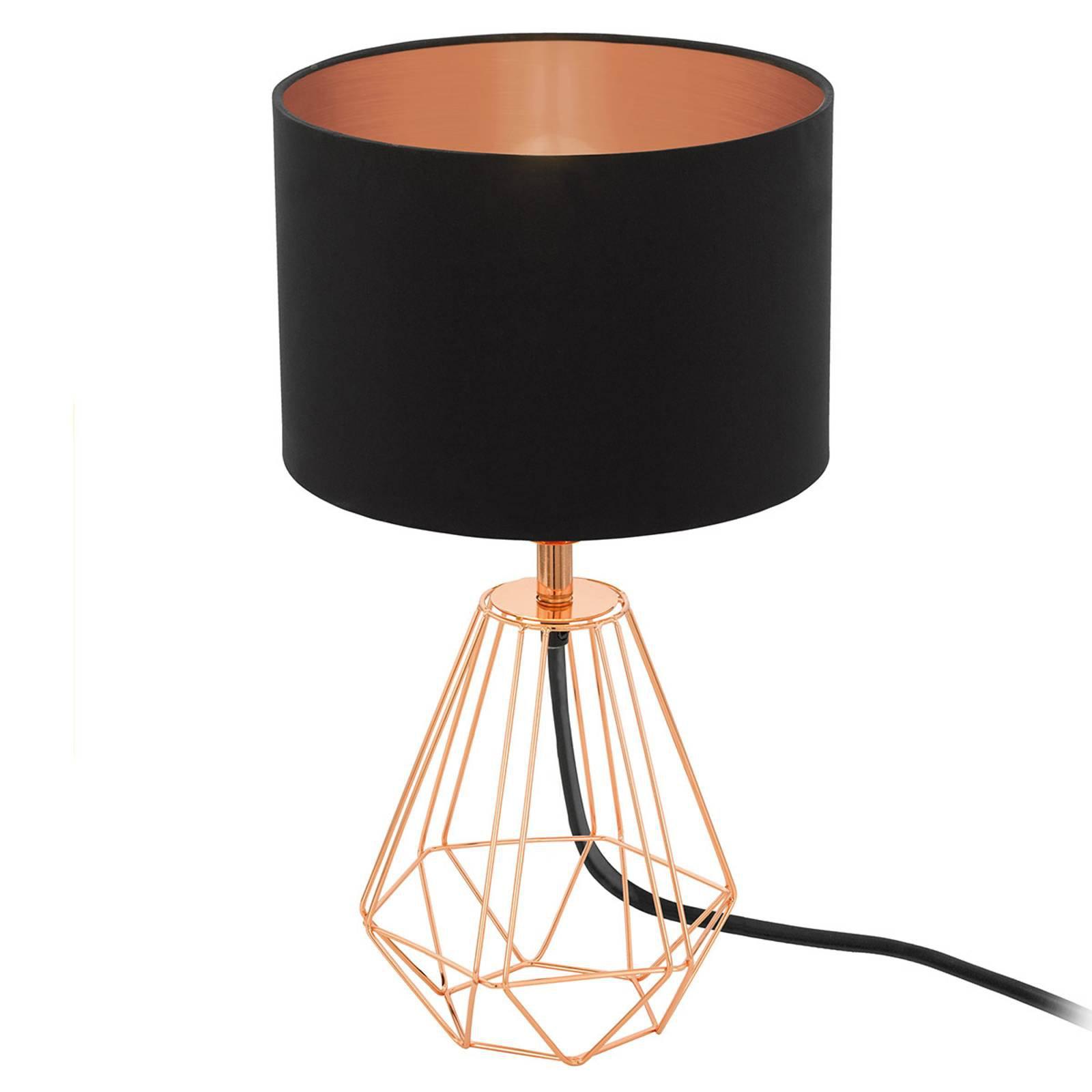 Bordlampe Carlton 2, svart-kobber
