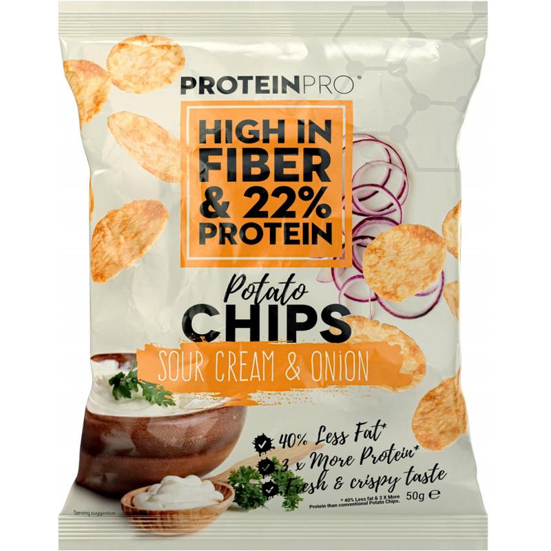 "Proteinchips ""Sour Cream & Onion"" 50g - 32% rabatt"