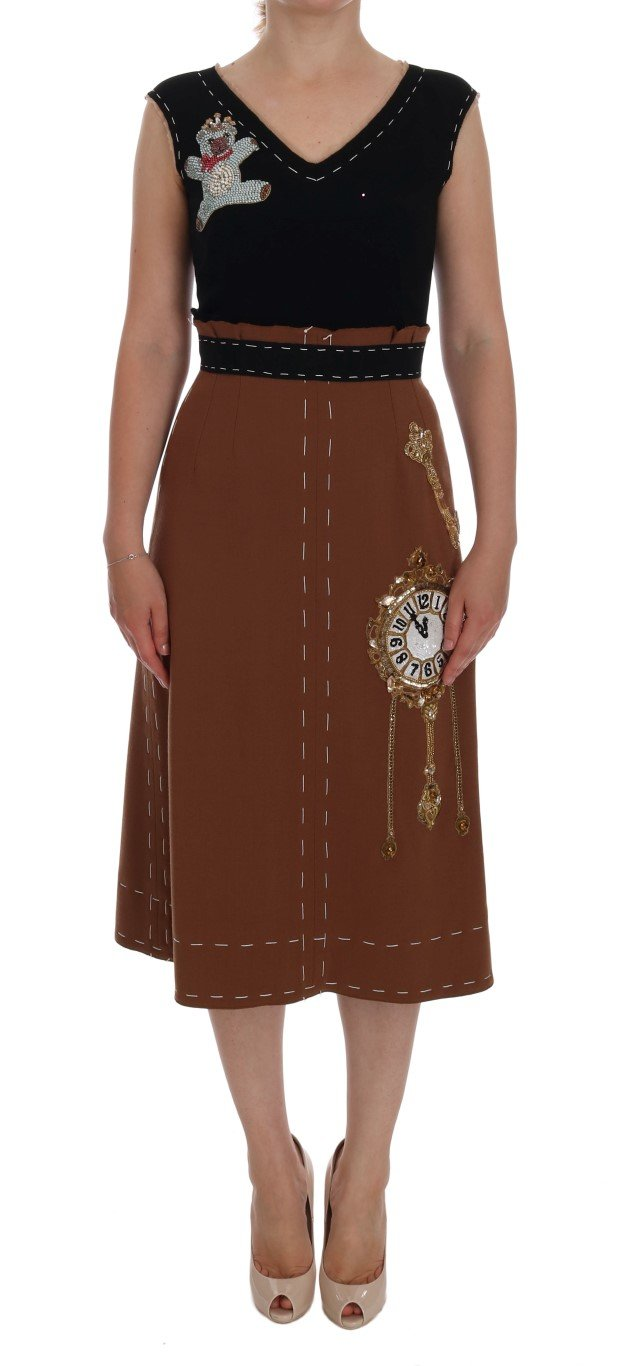 Dolce & Gabbana Women's Crystal Bear Key Clock Wool Dress Brown DR1054 - IT38|XS