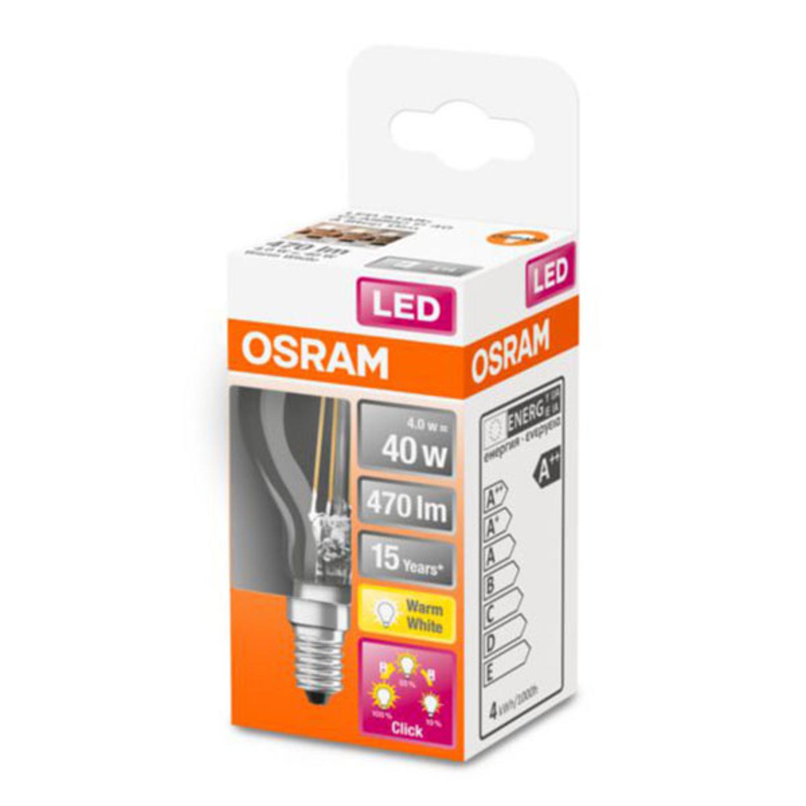 OSRAM Classic P -LED-lamppu E14 4W 827 3-Step-dim