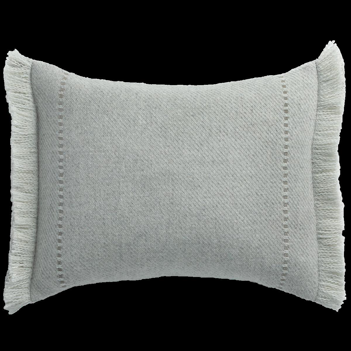 de Le Cuona   Cashmere Wool Twill Cushion With Fringe Light Grey