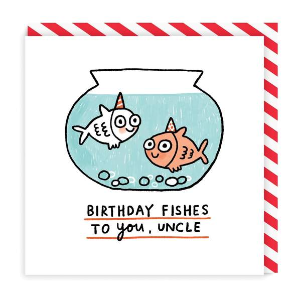 Uncle Birthday Fishes Square Greeting Card