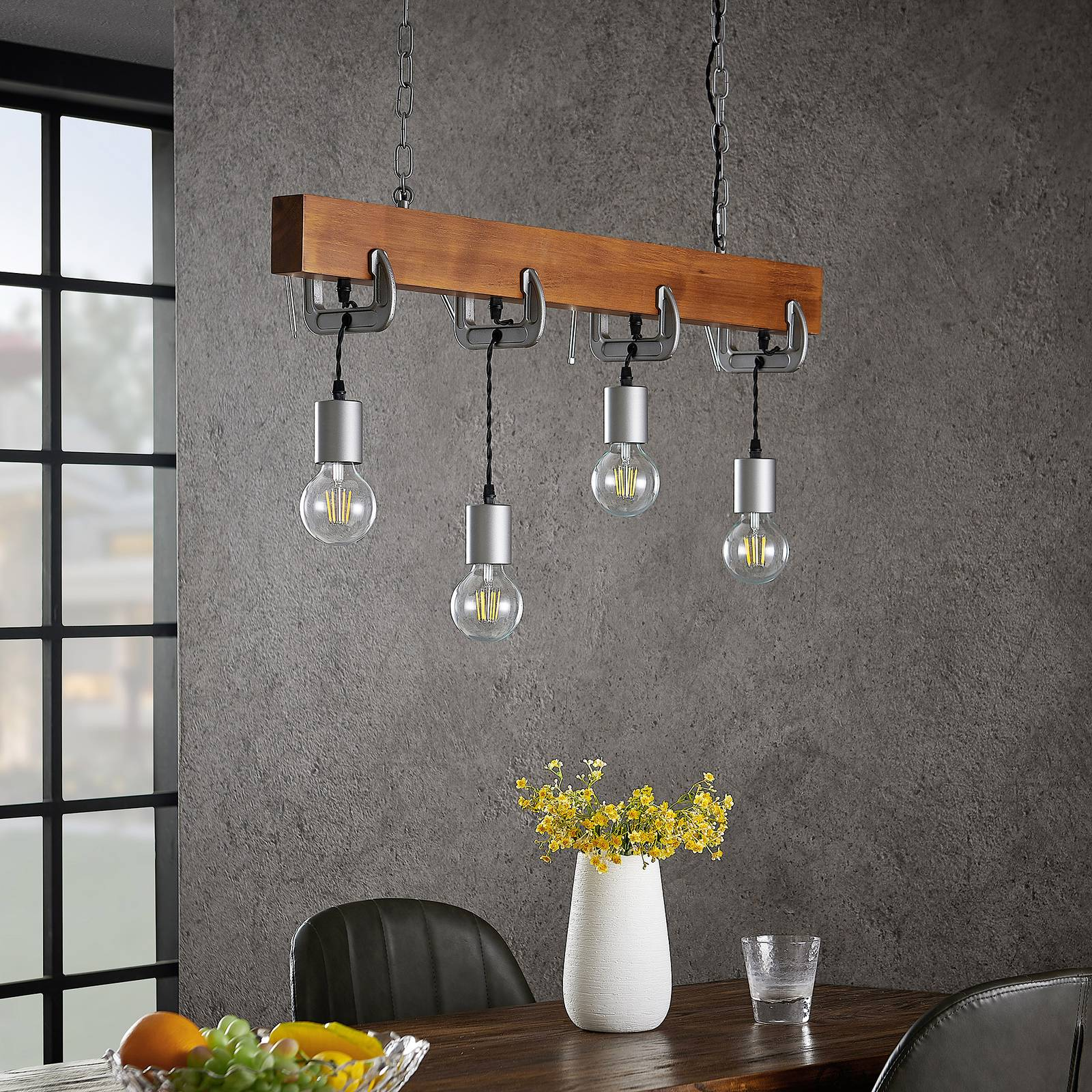Lindby Asya -riippuvalo 4-lamppuinen, puu, kromi