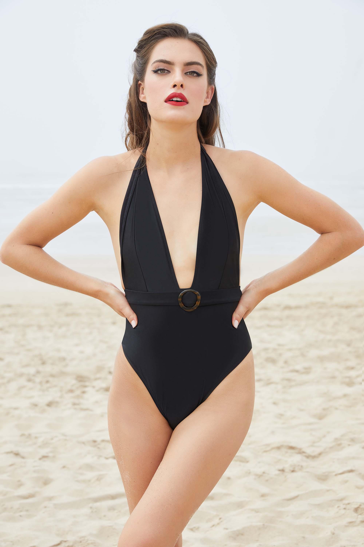 Bettie Page Eco Jayne Black Plunge Swimsuit UK 10 / US 6