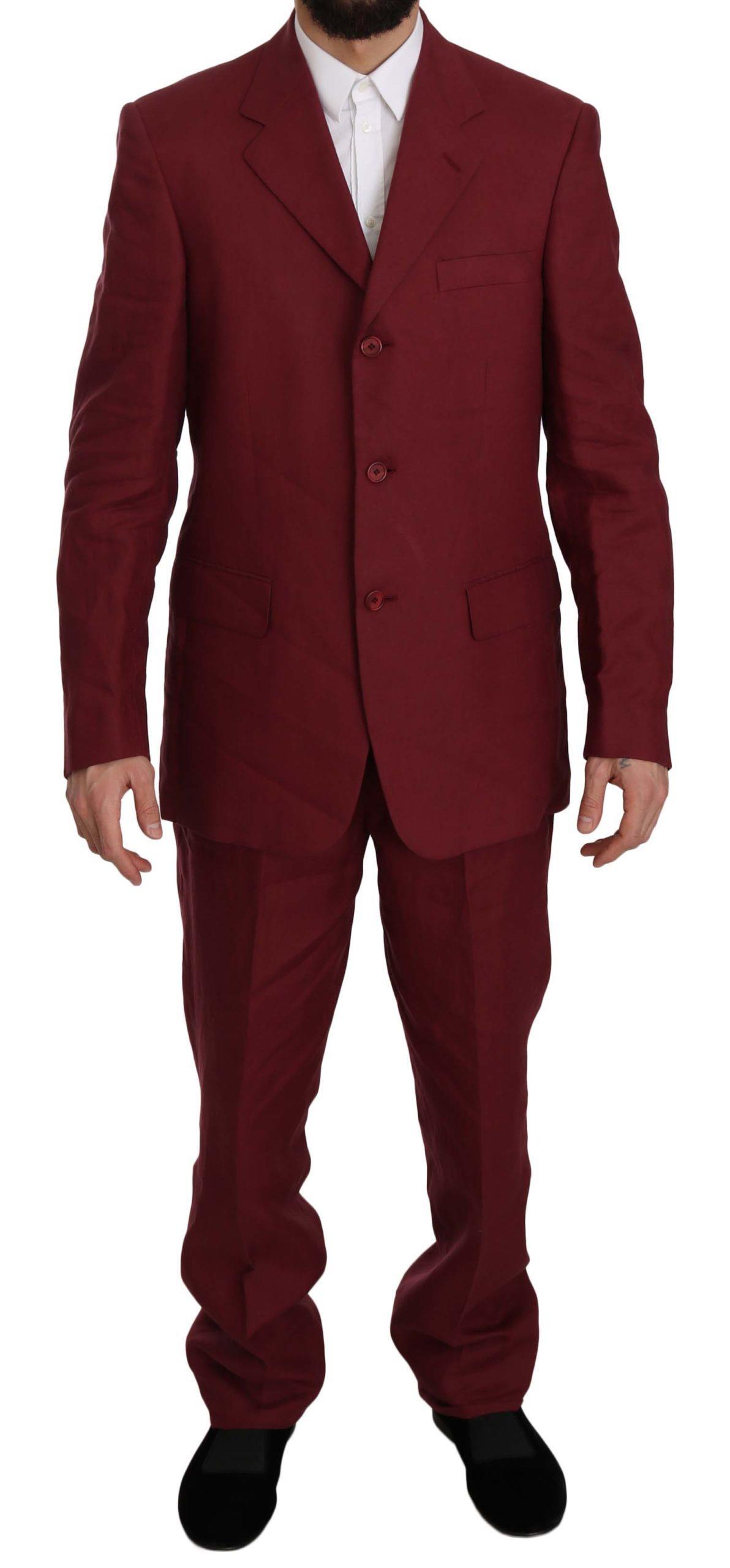 Romeo Gigli Men's Two Piece 3 Button Suit Bordeaux KOS1438 - IT50 | L