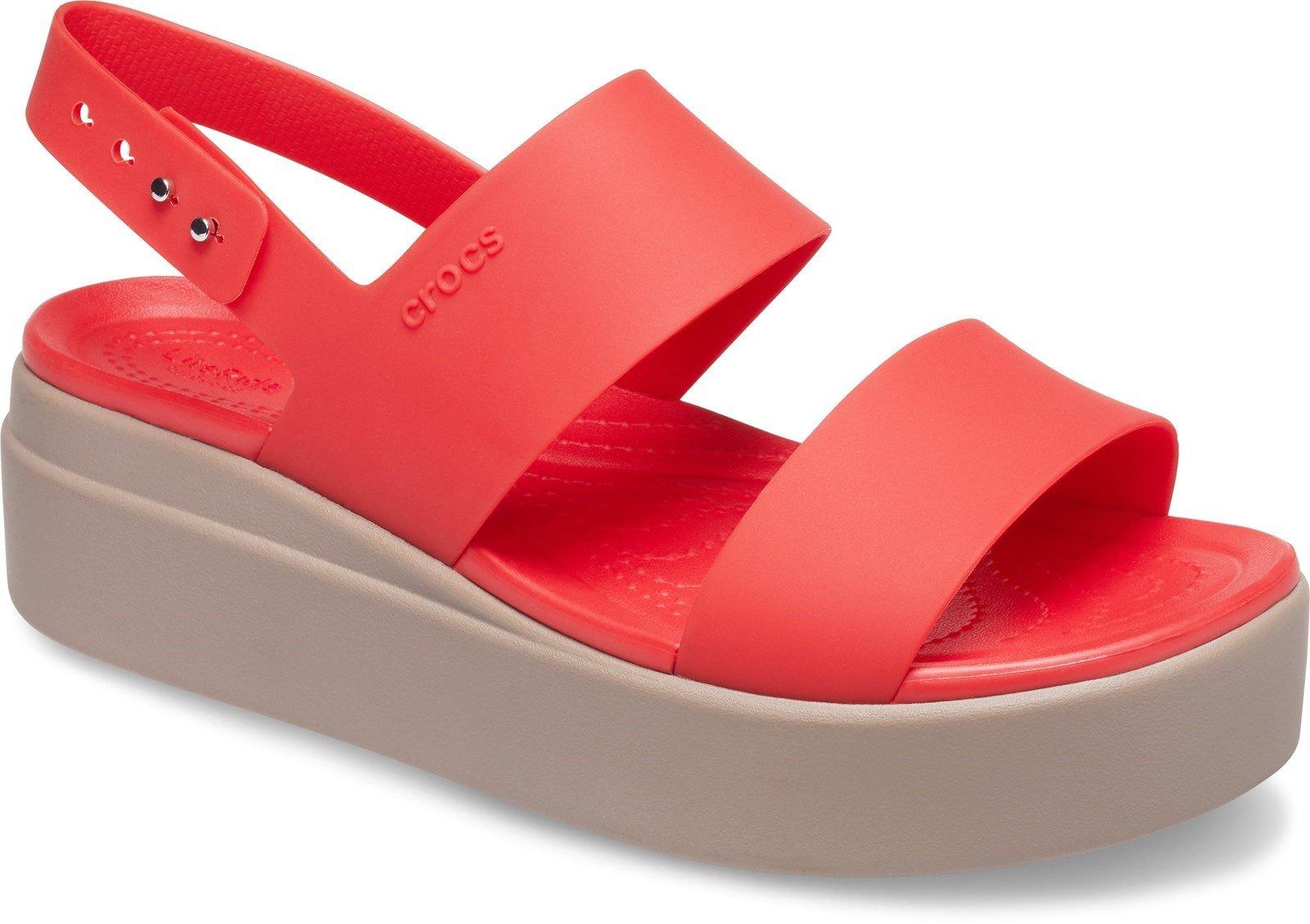 Crocs Women's Brooklyn Low Wedge Platform Sandal Various Colours 31458 - Flame/Mushroom 3