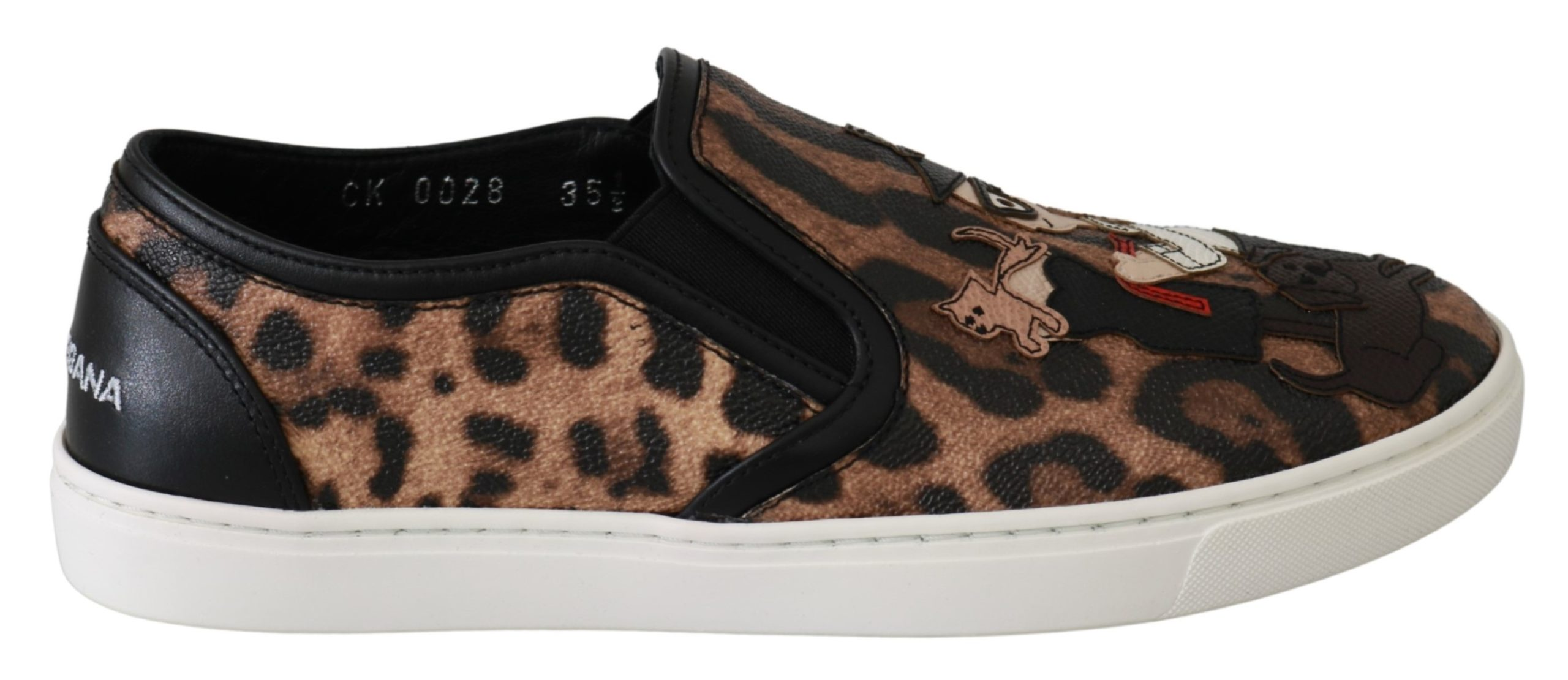 Dolce & Gabbana Women's Leather Leopard Flat Shoe Brown LA6483 - EU35.5/US5