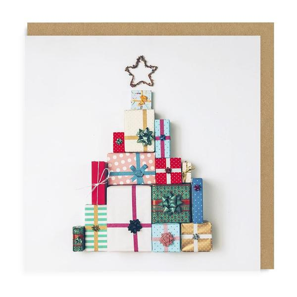 Christmas Presents Tree Square Christmas Card