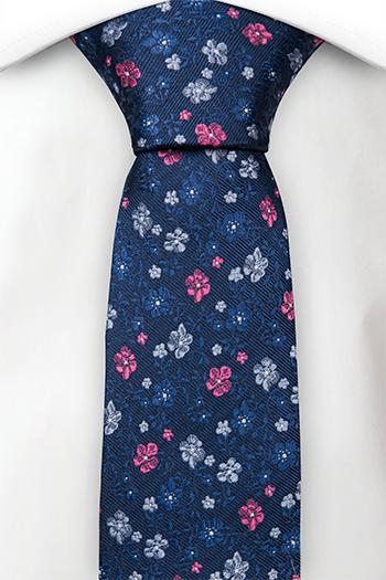 Silke Smale Slips, Marineblå kypebase, små blomster i rød & to blå, Notch PICTOR