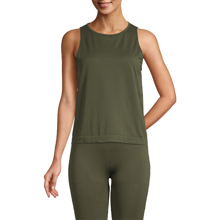 Seamless Blocked Tank, Forest Green