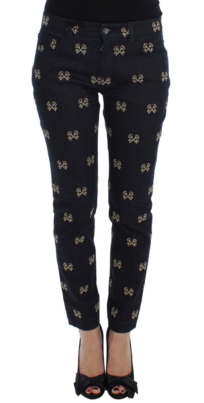 Dolce & Gabbana Women's Key Embroidered Slim Fit KATE Jeans Blue SIG17259 - IT40|S