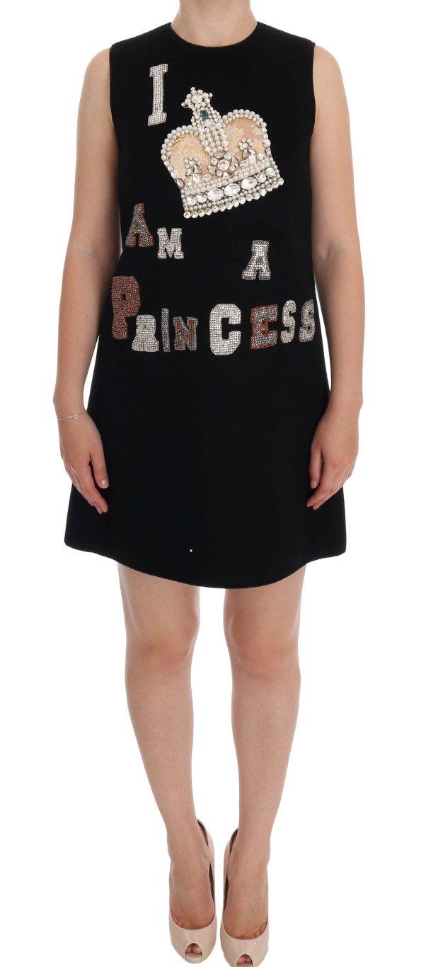 Dolce & Gabbana Women's I AM A PRINCESS Crystal Shift Dress Black DR1052 - IT40 S