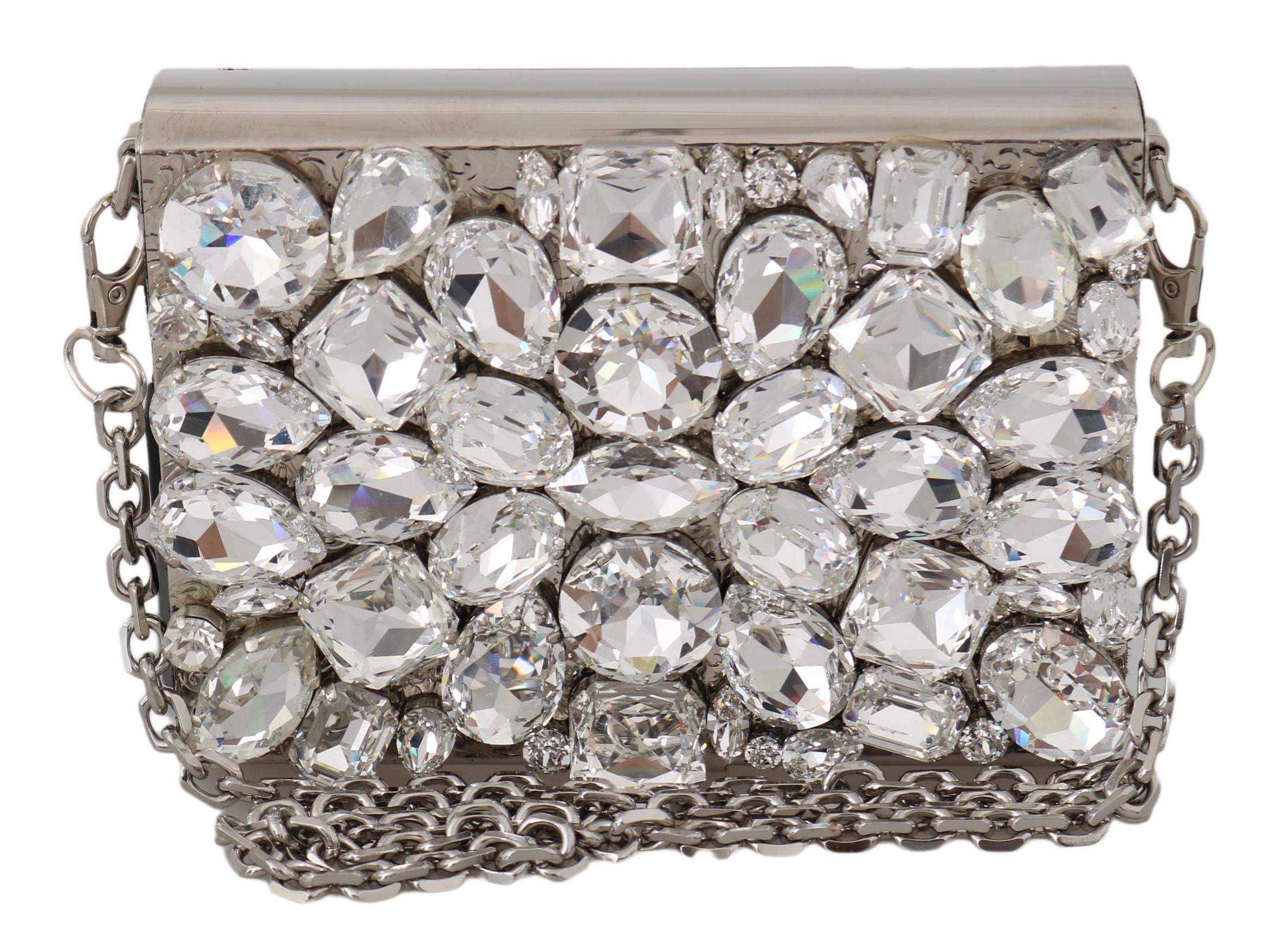 Dolce & Gabbana Women's Metal Crystal Shoulder Bag Silver VA1135