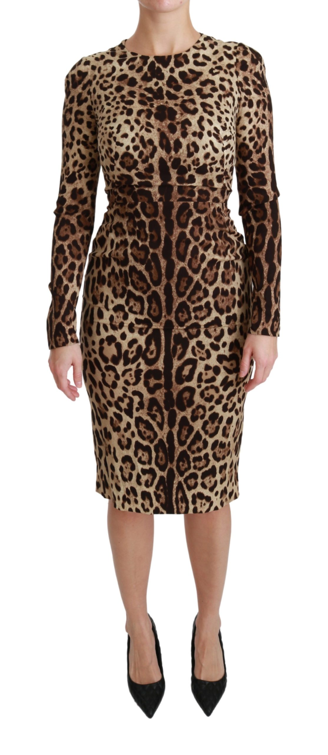 Dolce & Gabbana Women's Leopard Bodycon Silk Dress Brown DR2472 - IT38|XS