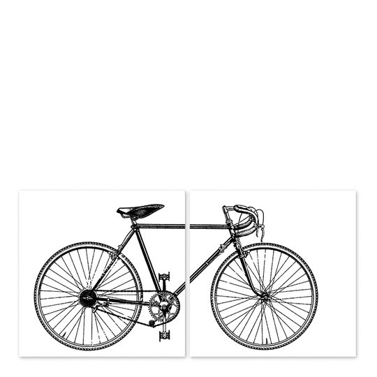 Boubouki - Kakeldekor Cykel 15x15 cm 2-pack Vit