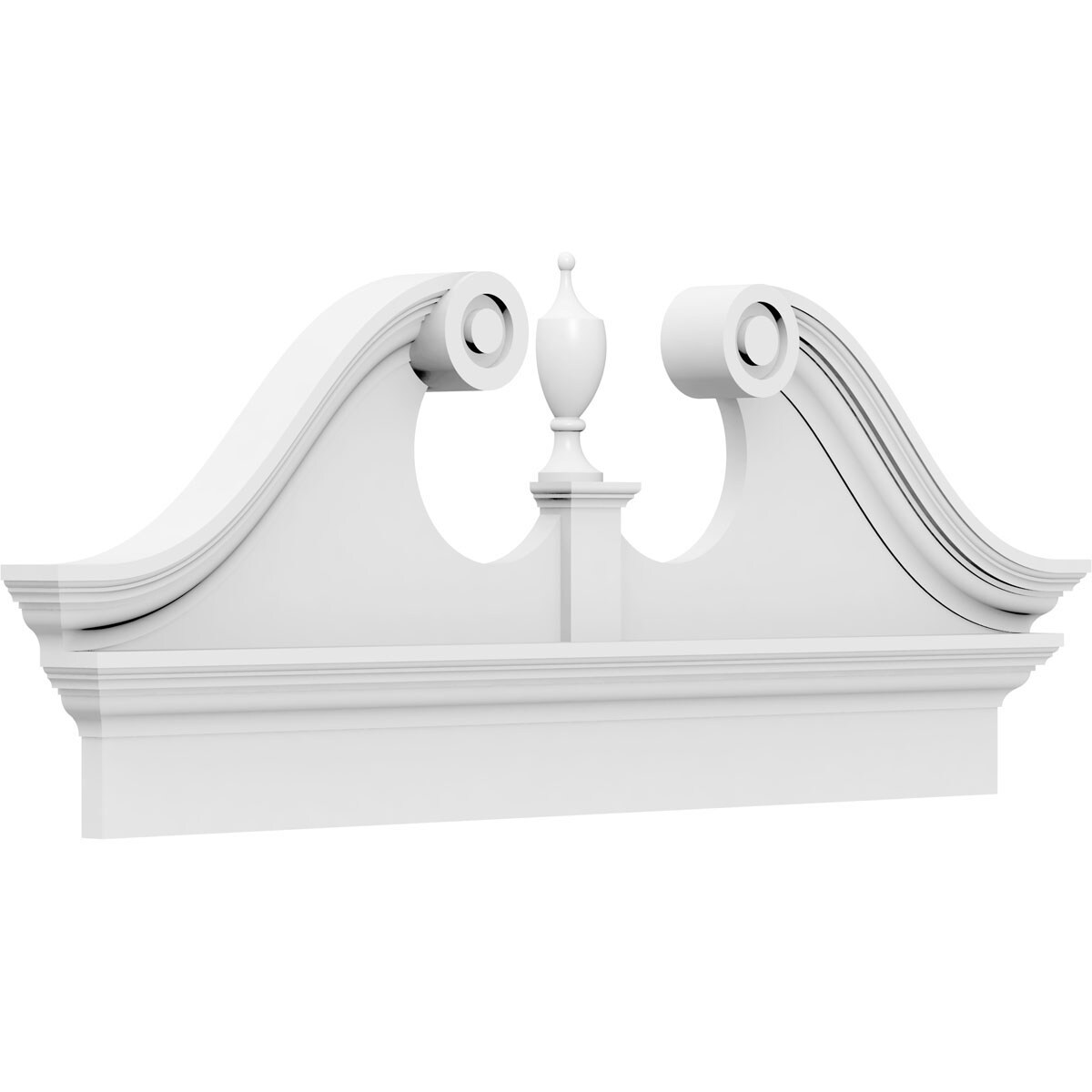 Ekena Millwork Rams Head 6-ft 2-in x 25-3/8-in Unfinished PVC Pediment Entry Door Casing Accent in White | PEDPC074X255RHP00