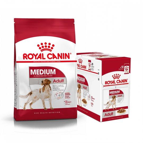 Royal Canin Medium Adult Torrfoder 15 kg + Multipack Våtfoder