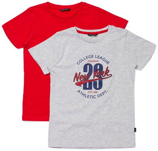 Luca & Lola Riccione T-Shirt 2-pack, Grey/Red 86-92