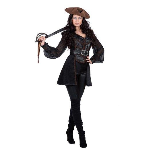 Piratkvinna Svart Dam Maskeraddräkt - Small