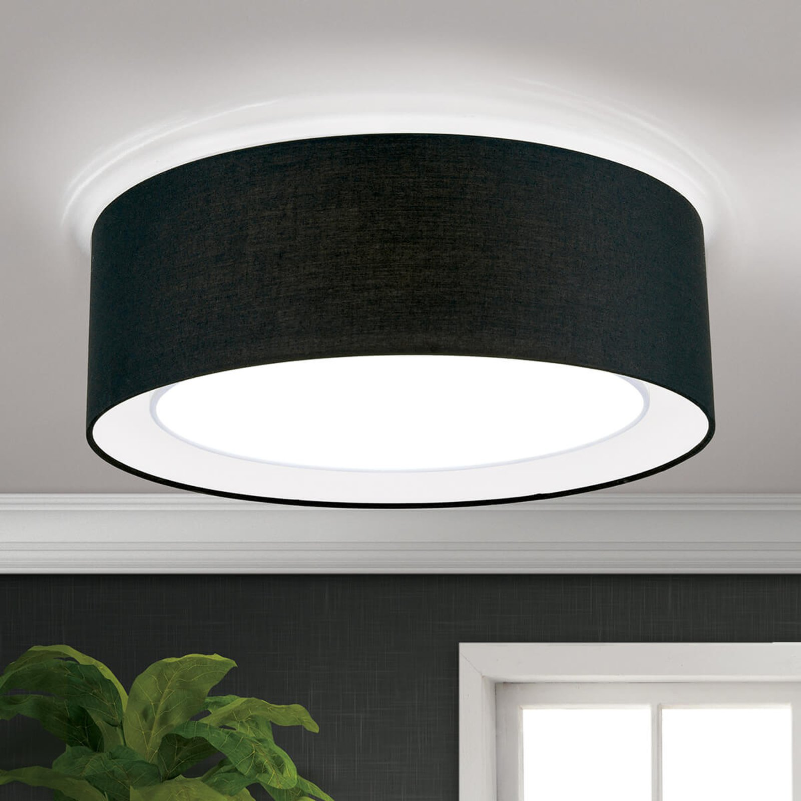 Rund taklampe i tekstil Antoni i svart