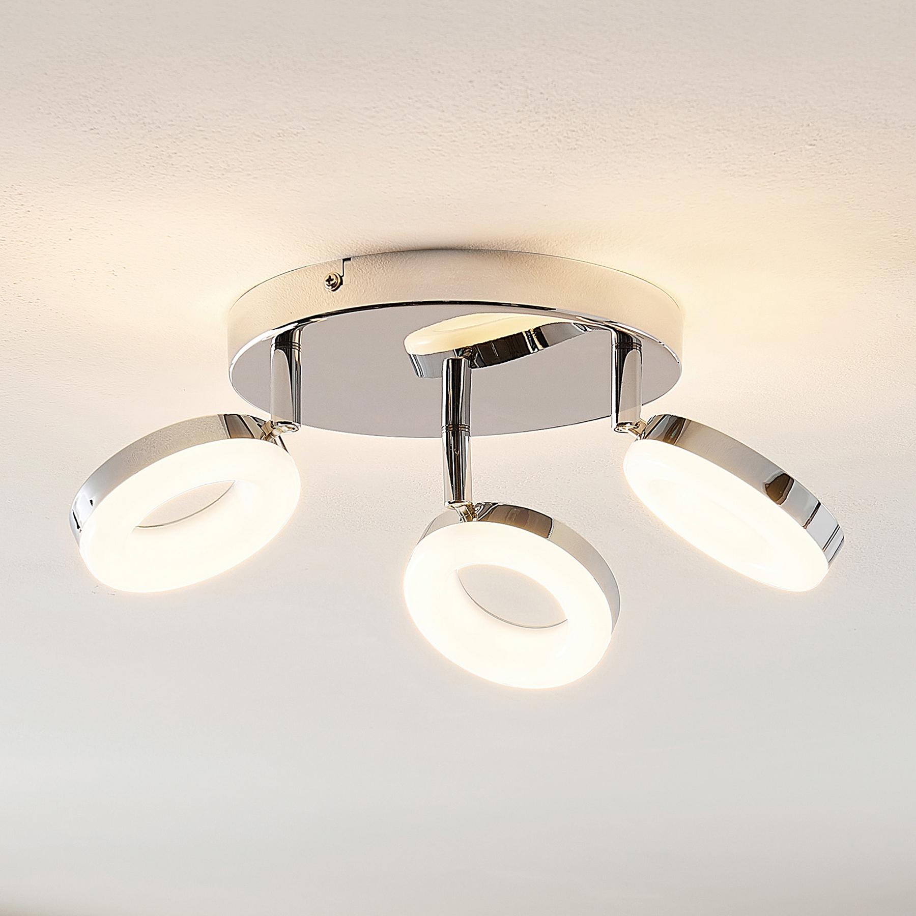 ELC Tioklia -LED-kattovalo, kromia, 3-lamppuinen