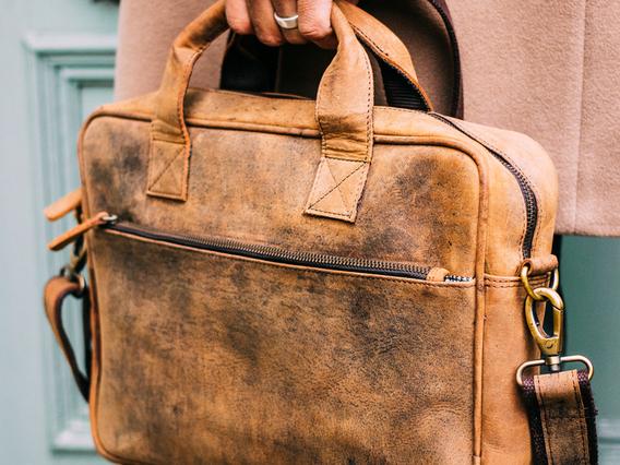 Men's Leather Laptop Bag 14 Inch Brown