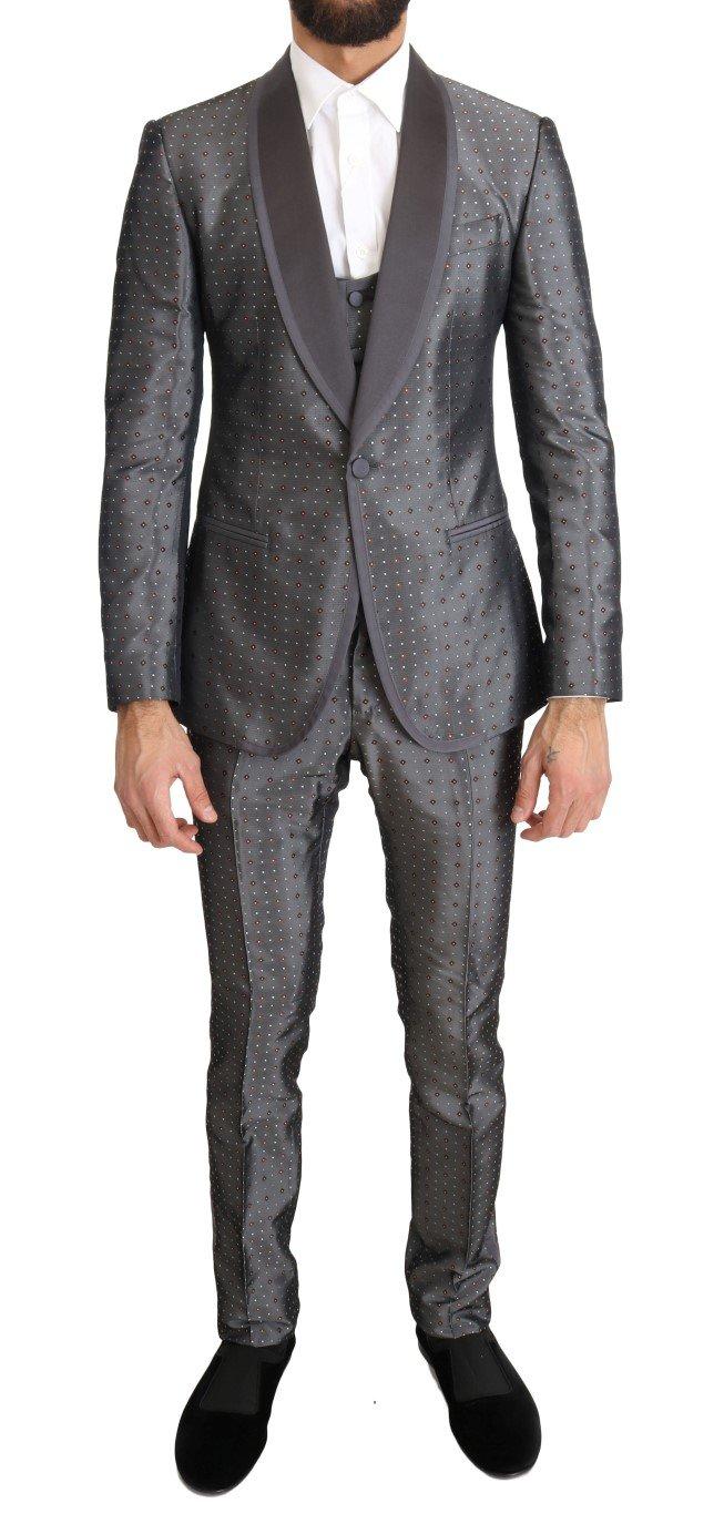 Dolce & Gabbana Men's Silk Baroque Single Breasted Suit Silver KOS1138 - IT44 | XS