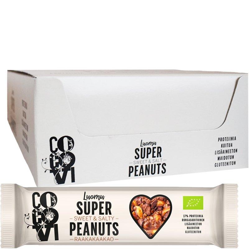 """Laatikollinen Luomu """"Super Peanuts Raakakaakao"""" Patukoita 24 x 40g - 75% alennus"""