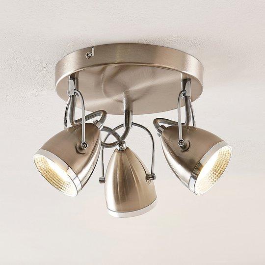 Lindby Jadon LED -kattovalaisin, nikkeli, 26,3 cm