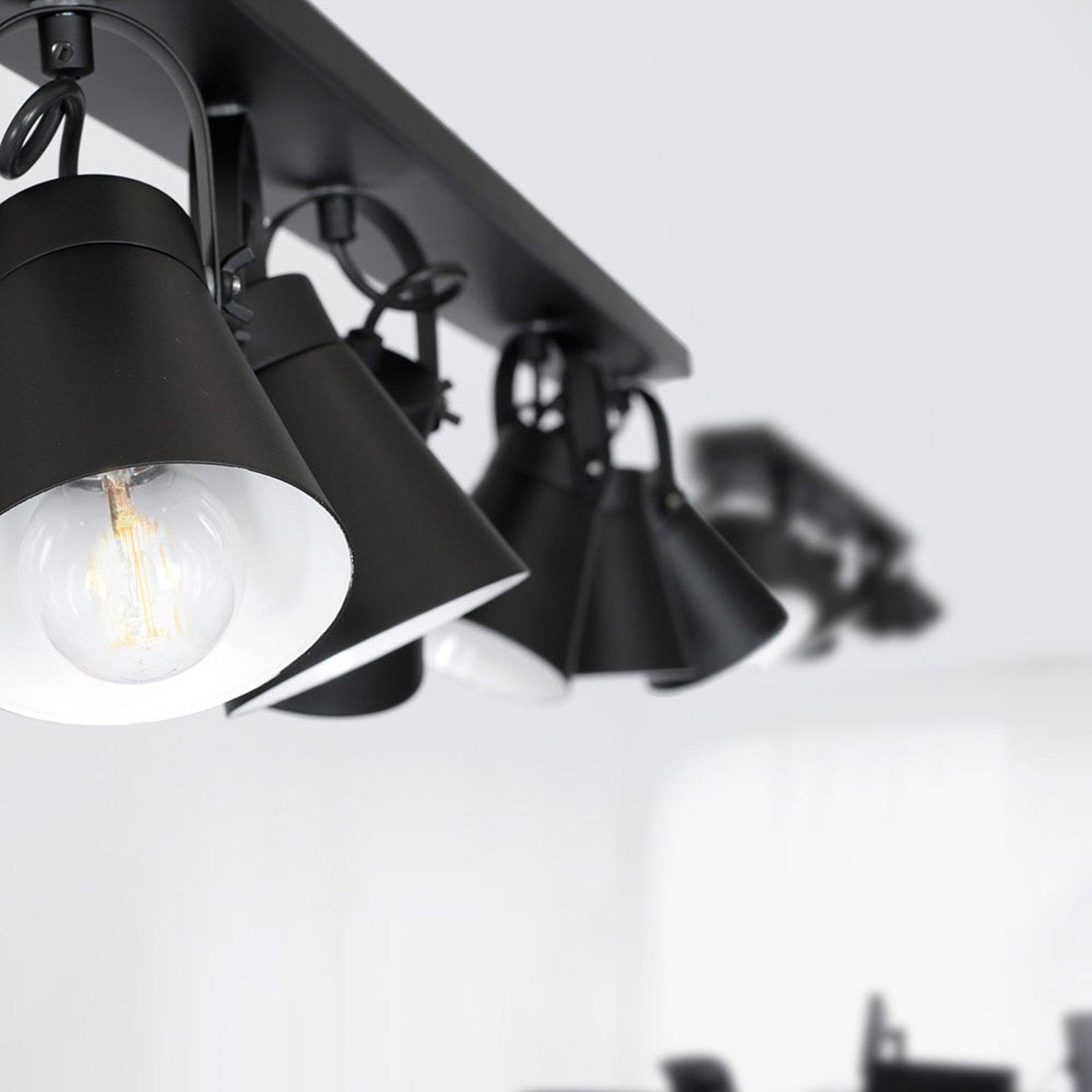 Amos taklampe, svart, 6 lyskilder