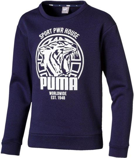 Puma Alpha Graphic Crew Genser, Peacoat 92