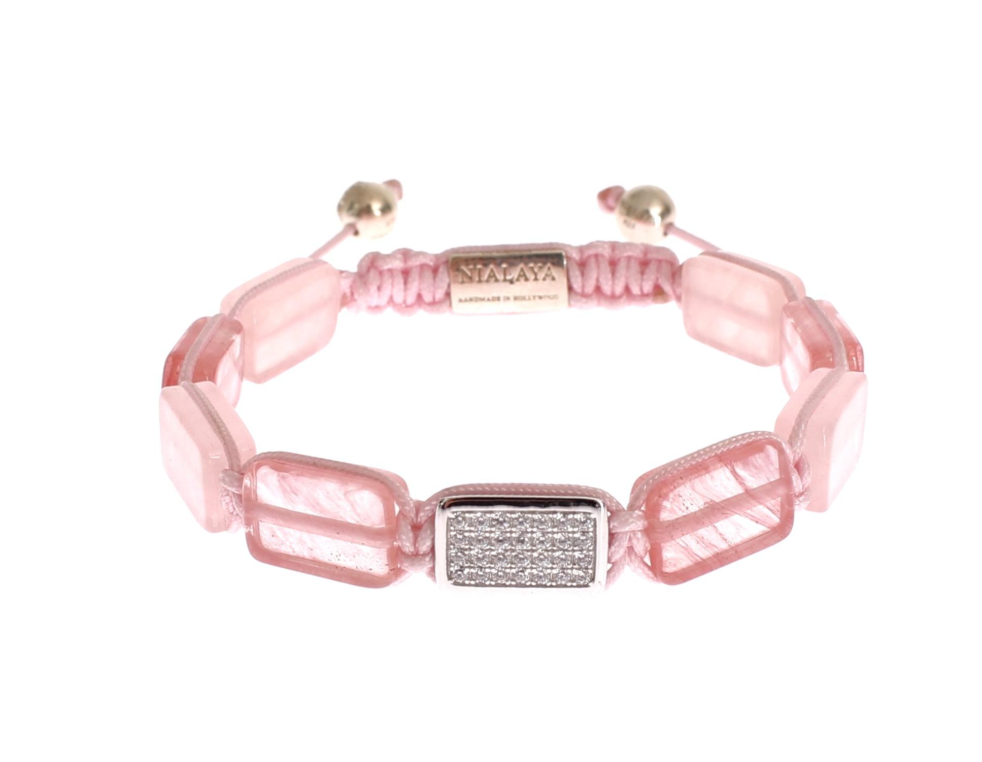 Nialaya Women's CZ Quartz 925 Silver Bracelet Pink NIA20254 - M