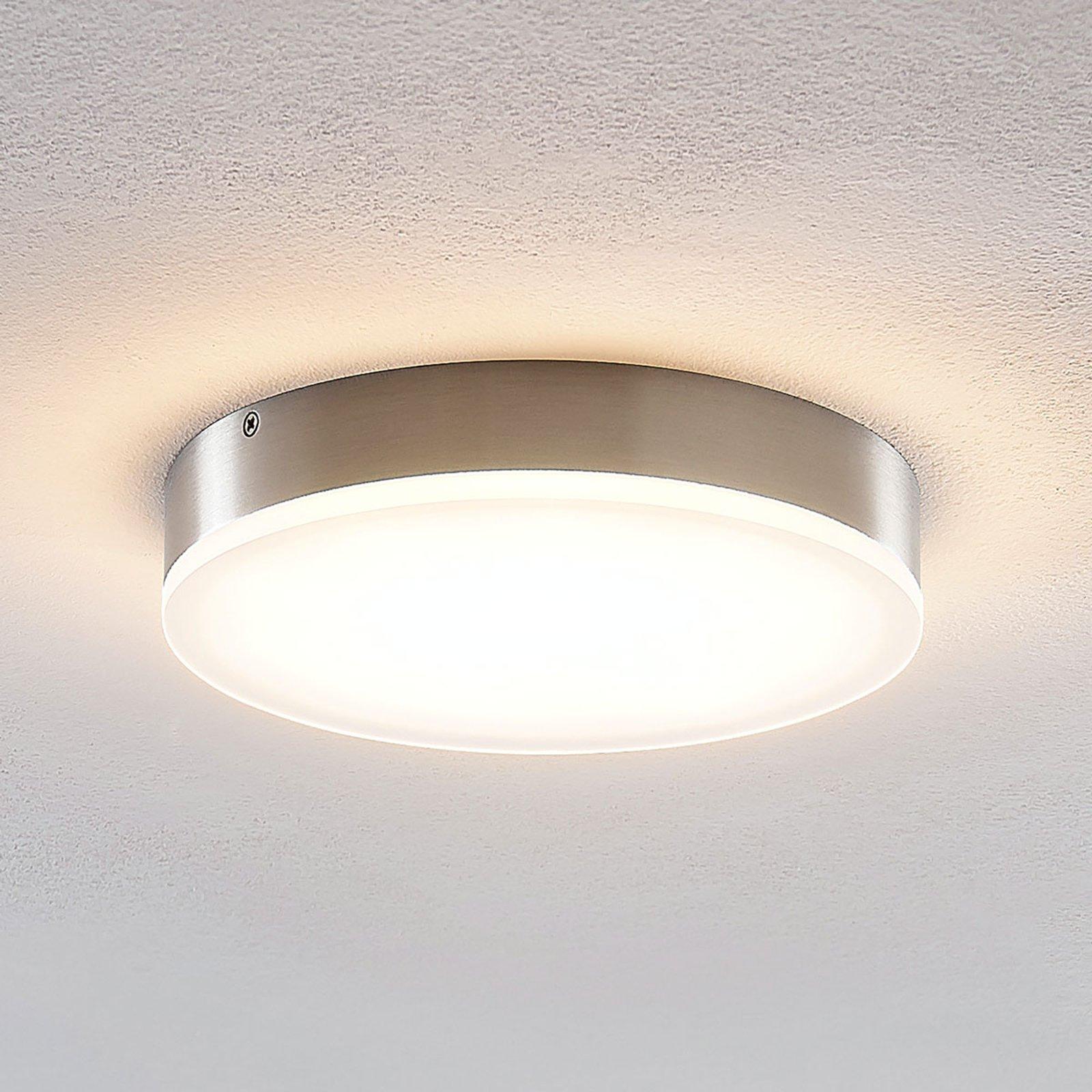 Lindby Leonta LED-taklampe, nikkel, Ø 20 cm