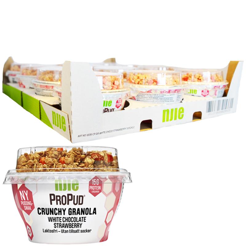 """Hel Låda Proteinpudding """"White Chocolate"""" 12 x 165g - 28% rabatt"""