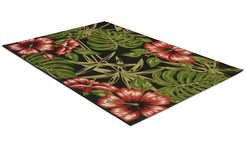 Magnolia svart/rød - flatvevd teppe