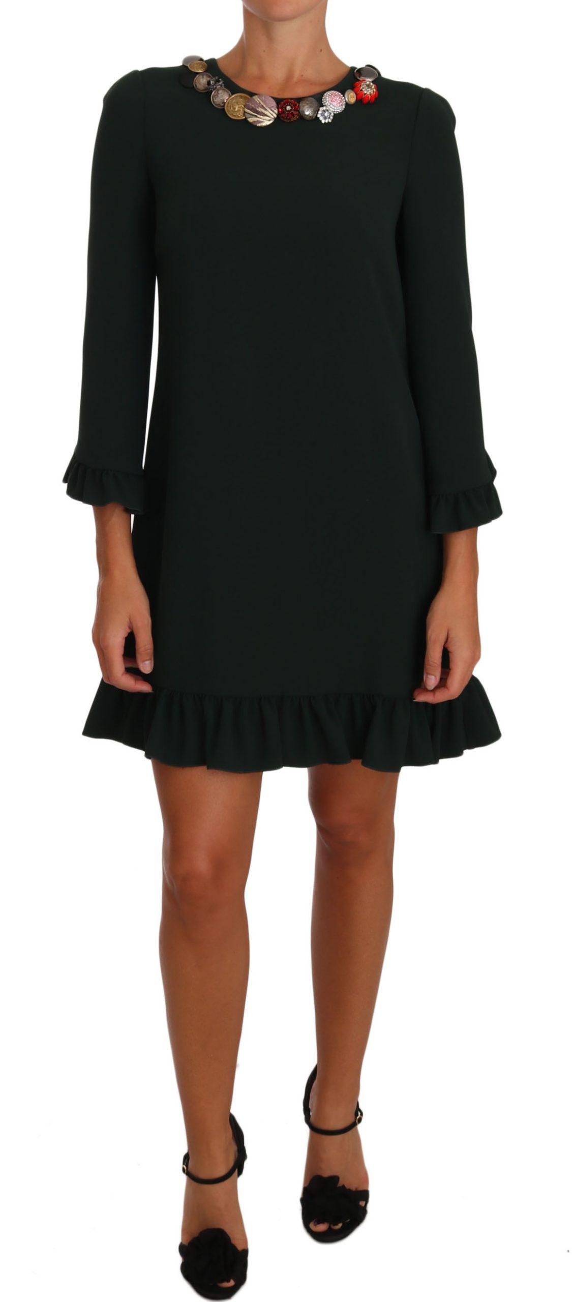 Dolce & Gabbana Women's Stretch A-Line Short Crystal Dress Green DR1411 - IT44 L