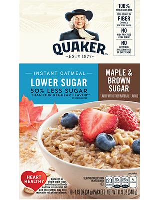 Quaker Instant Oatmeal Maple & Brown Sugar Lower Sugar 340g