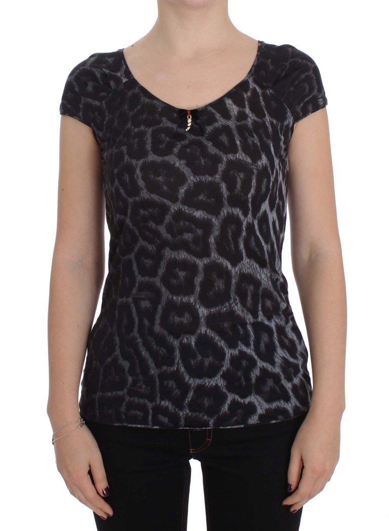 Cavalli Women's Leopard Modal Top Gray SIG32481 - IT48 | XL