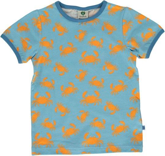 Småfolk Krabber T-Shirt, Blue Grotto, 2-3 År