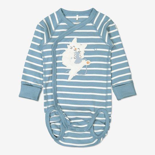 Stripet omslagsbody baby blå