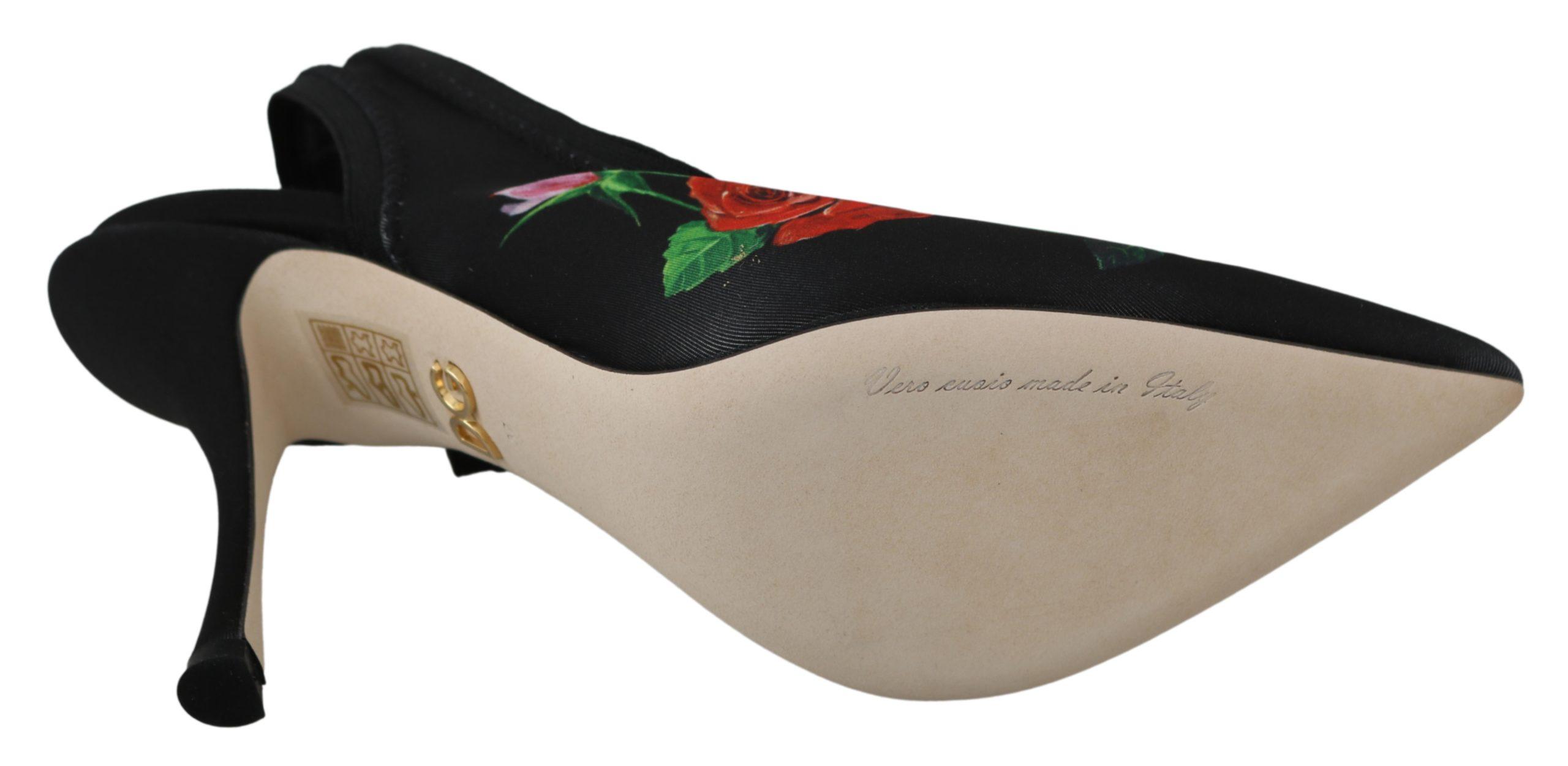 Dolce & Gabbana Women's Roses Stretch Slingback Pumps Black LA6585 - EU35.5/US5