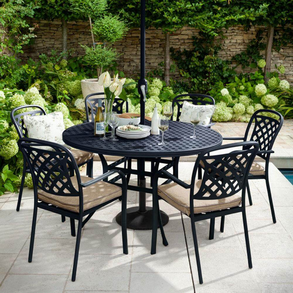 2021 Hartman Berkeley 6 Seater Round Garden Dining Table Set - Bronze/Amber