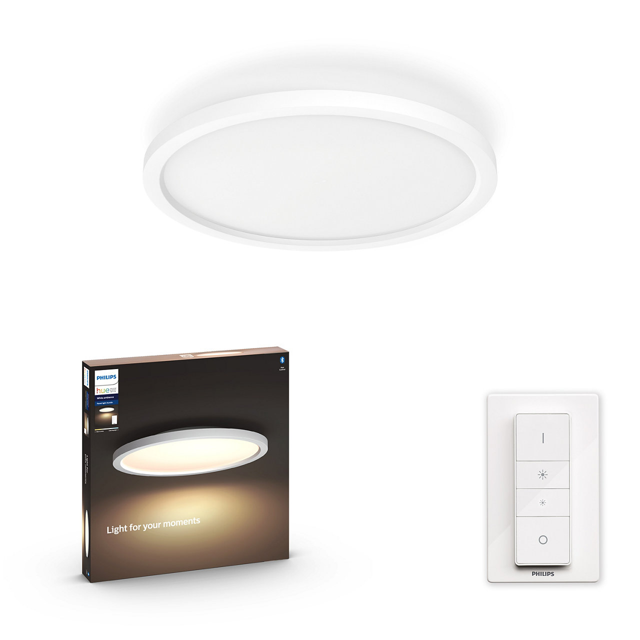 Philips Hue - Aurelle Round Ceiling Lamp - White Ambiance - Bluetooth & Dimmer Included