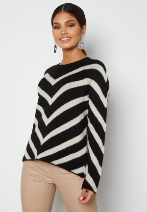 ONLY Leliza L/S Pullover Knit Black Pattern Cloud XL