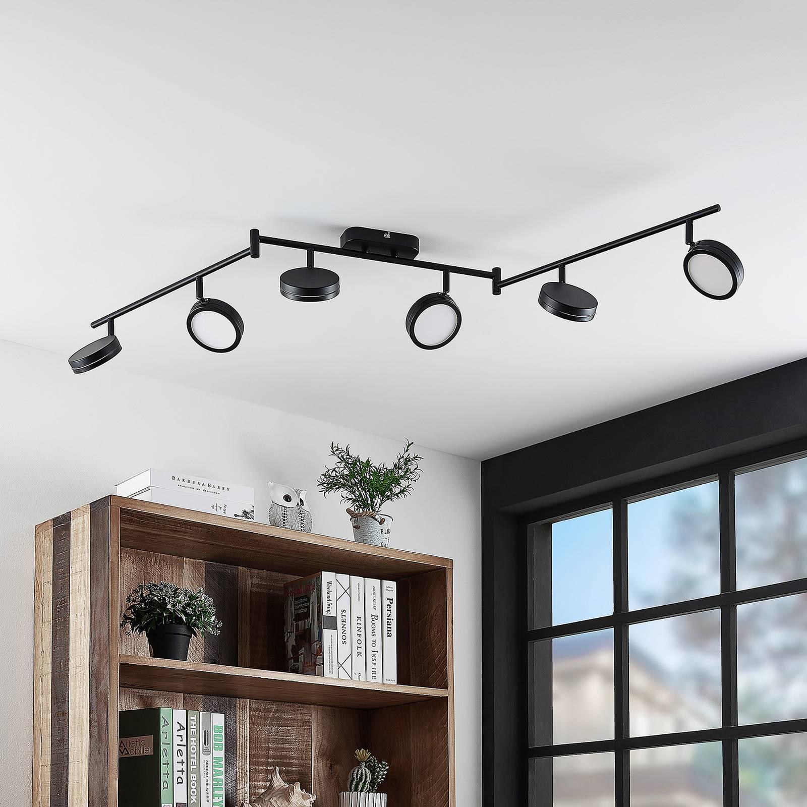 Lindby Vesim -LED-kohdevalaisin musta 6-lamppuinen