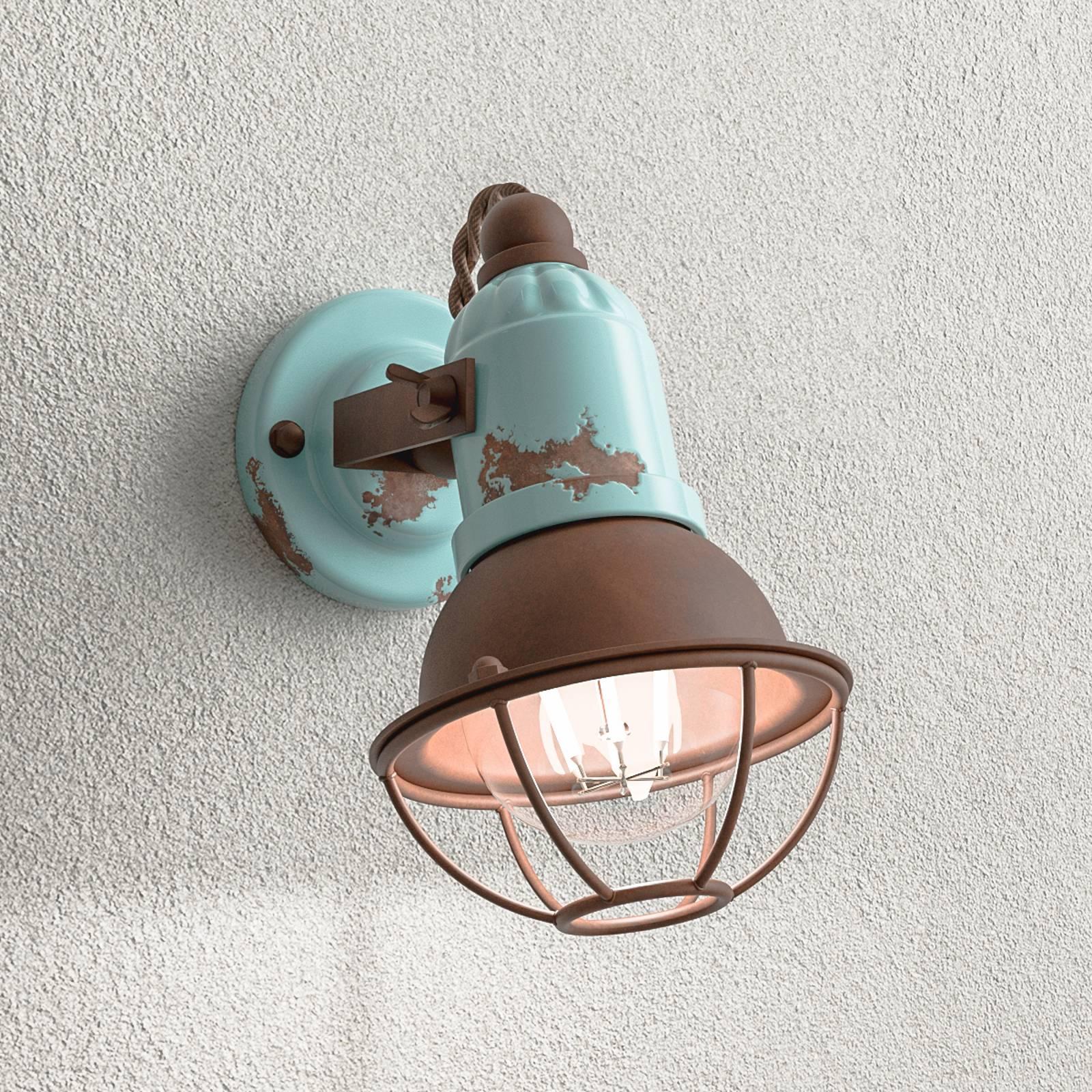 C1675/1-seinälamppu, kori, 1-lamp., turkoosi