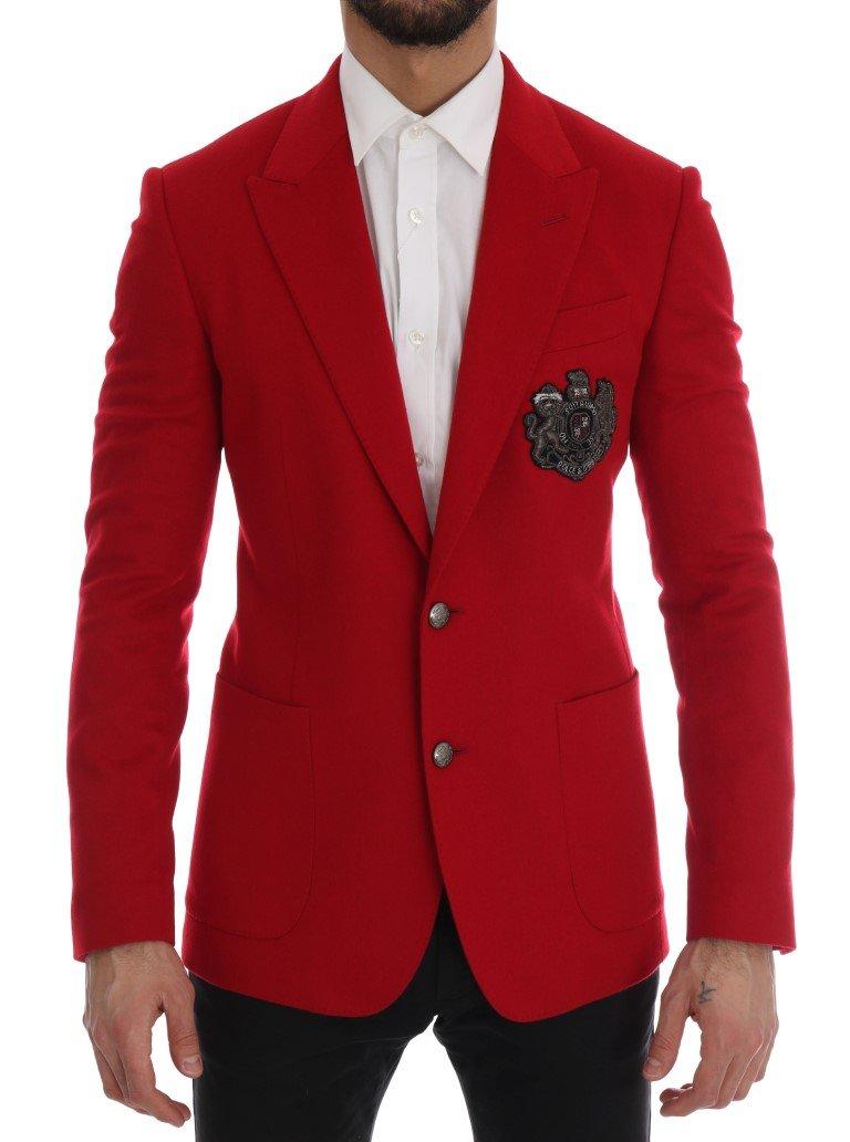 Dolce & Gabbana Men's Cashmere Slim Fit Blazer Red KOS1165 - IT46 | S