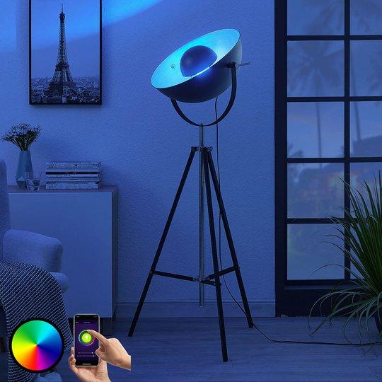 Lindby Smart LED-trefots-gulvlampe Muriel, sølv