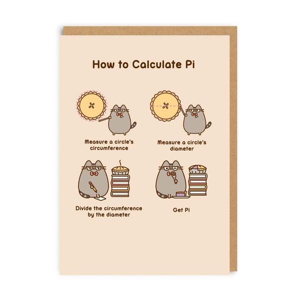 Pusheen How To Calculate Pi Greeting Card